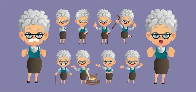 Alte person mit verschiedenen posen.
