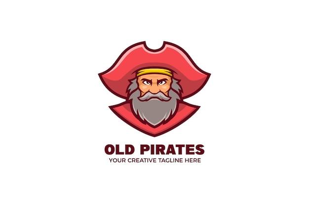 Alte piraten-maskottchen-charakter-logo-vorlage
