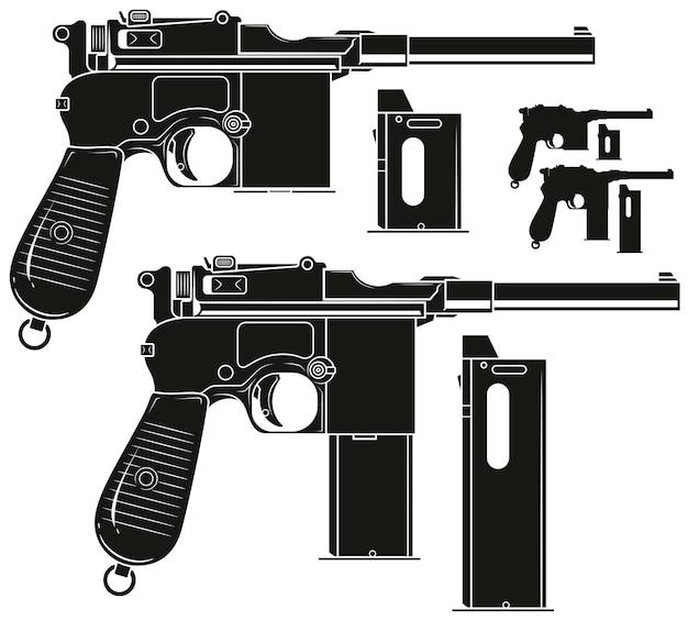 Alte pistole der grafischen silhouette mit munitionsclip