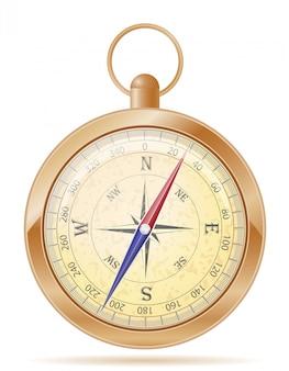 Alte retro- weinlesevektorillustration des kompasses