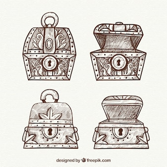 Alte schatztruhenkollektion mit flachem design