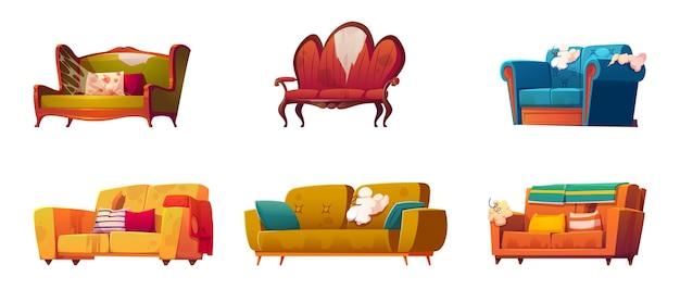 Alte schmutzige sofas mit zerrissenen polstern und klebenden federn