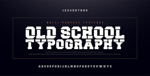 Alte schulmoderner mutiger alphabet-guss. kondensiert