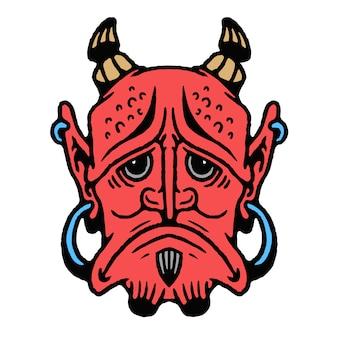 Alte schultätowierung japanischer oni devil mask