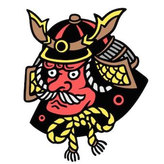 Alte schultätowierungs-illustration japanischer oni-rüstung