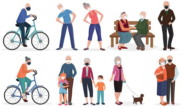 Alte senioren der großeltern in der medizinischen gesichtsmaske