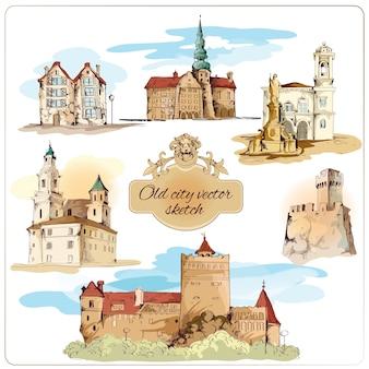 Alte stadt gebäude farbige skizze dekorative elemente gesetzt isoliert vektor-illustration
