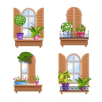 Alte stadtfenster hölzerne weinleserahmensammlung mit fensterläden, schweller, glas, zimmerpflanzen.