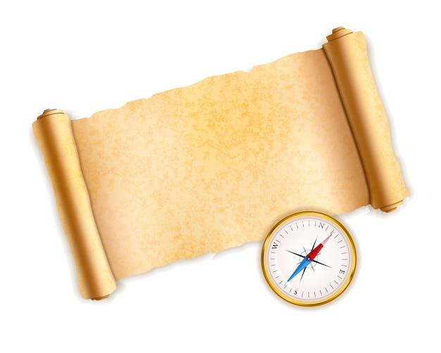Alte strukturierte schriftrolle mit glänzendem goldenem vintage-kompass auf weiß