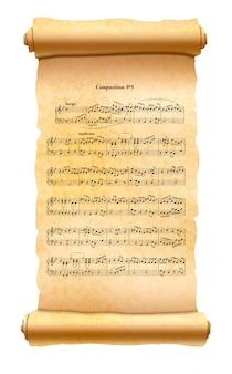 Alte strukturierte schriftrolle mit musikkompositionsblatt lokalisiert auf weiß