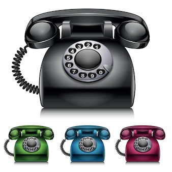Alte telefone im vintage-stil-vektor-illustration