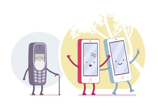 Alte und neue smartphone-modelle