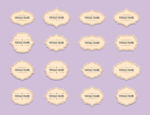 Alte verzierte etiketten dekorativer vintage-rahmen und retro-abzeichen