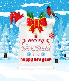 Alte weihnachtspergamentrolle mit rotem weihnachtsmann-hut und bogen auf winterlandschaft. frohes neues jahr dekoration. frohe weihnachtsfeiertage. neujahrs- und weihnachtsfeier. vektor-illustration flacher stil