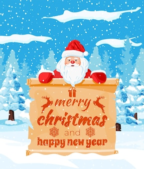 Alte weihnachtspergamentrolle mit weihnachtsmann auf winterlandschaft. frohes neues jahr dekoration. frohe weihnachtsfeiertage. neujahrs- und weihnachtsfeier. vektor-illustration flacher stil