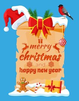 Alte weihnachtspergamentrolle mit weihnachtsmütze