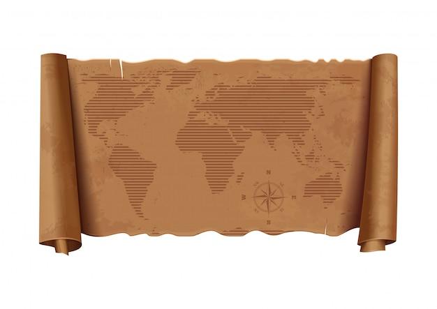 Alte weltkarte. horizontale detaillierte alte karte der welt. windrose. vintage papier textur.
