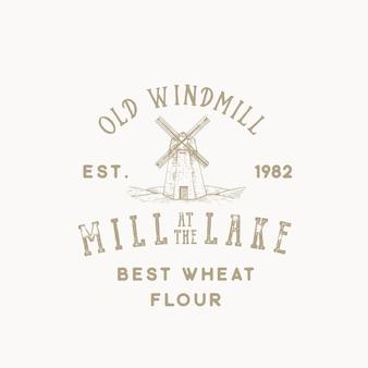 Alte windmühlen-bäckerei-abstrakte zeichen-, symbol- oder logo-schablone. Premium Vektoren