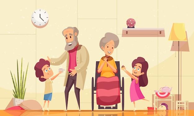 Alten menschen zu helfen, flache karikaturzusammensetzung mit den enkelkindern nach hause zu bringen, die den alten großeltern kaffeekuchen dienen