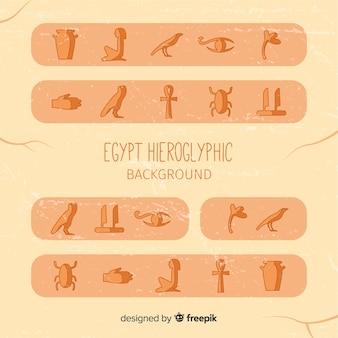 Alter ägypten-hieroglyphenhintergrund mit flachem design