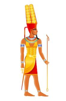 Alter ägyptischer gott amun, bedeutende ägyptische gottheit der sonne in shuti krone mit federdekoration. karikaturillustration in der alten kunstart.
