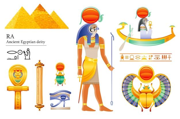 Alter ägyptischer sonnengott ra-symbolsatz. falcon sonnengottheit, sonnenscheibe, bark, skarabäus, papyrusrolle, ankh, auge. 3d karikaturillustration.