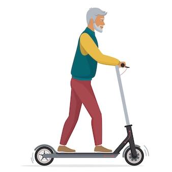 Alter älterer mann auf elektrischem fahrzeug des elektrorollers lokalisiert