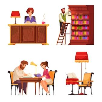 Alter bibliotheksbuchsatz von isolierten kompositionen mit gekritzelcharakteren des öffentlichen besucherbibliothekars und der bücherregale