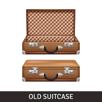 Alter brauner geöffneter und geschlossener koffer
