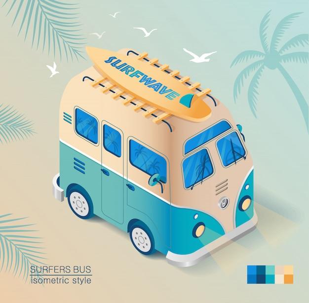 Alter bus am strand mit surfbrett im isometrischen stil gezeichnet. sommerurlaub.