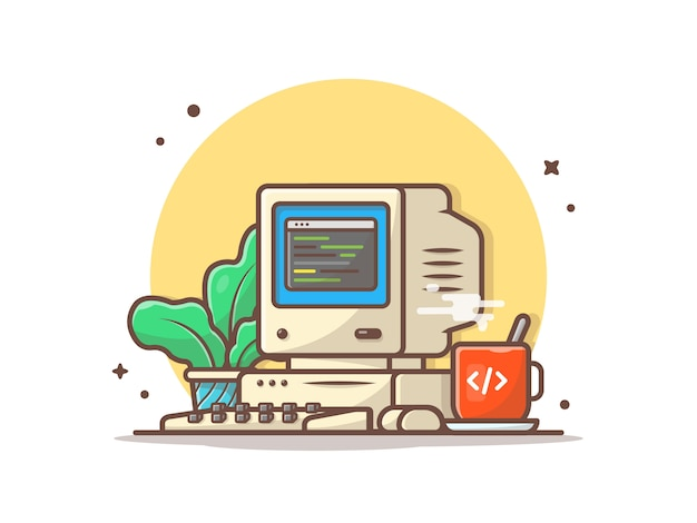 Alter computer-desktop mit heißer kaffee-und betriebsvektor-ikonen-illustration