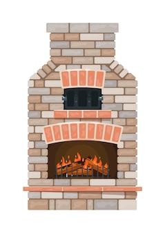 Alter gemauerter kamin mit feuer und brennholz lokalisiert auf weiß
