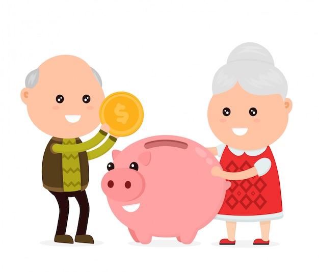 Alter glücklicher netter großvatermann und großmutter wirft eine münze in ein sparschwein.