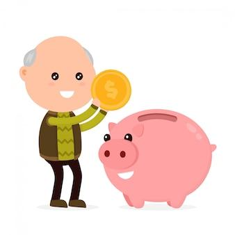 Alter glücklicher niedlicher großvatermann wirft eine münze in ein sparschwein.