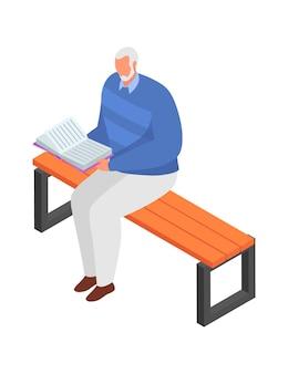Alter grauhaariger mann in der jacke, die parkbank im freien sitzt