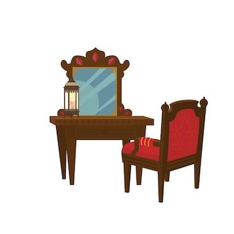 Alter hölzerner toilettentisch mit stuhl.
