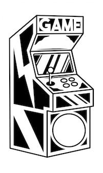 Alter klassischer arcade-spielautomat zum spielen des retro-videospiels.