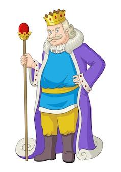 Alter könig, der ein zepter hält