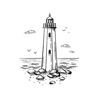 Alter leuchtturm im skizzenstil von hand gezeichnet. umriss gravierte illustration