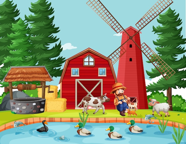 Alter macdonald in der farm mit scheunen- und windmühlenszene
