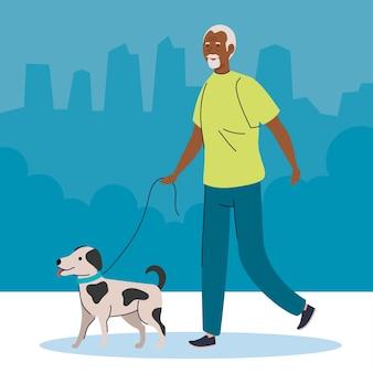 Alter mann afro, der mit hundehaustierillustration geht