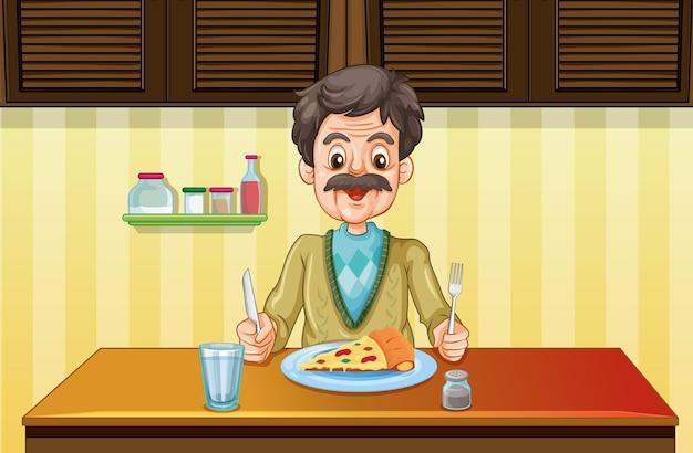 Alter mann beim essen im speisesaal