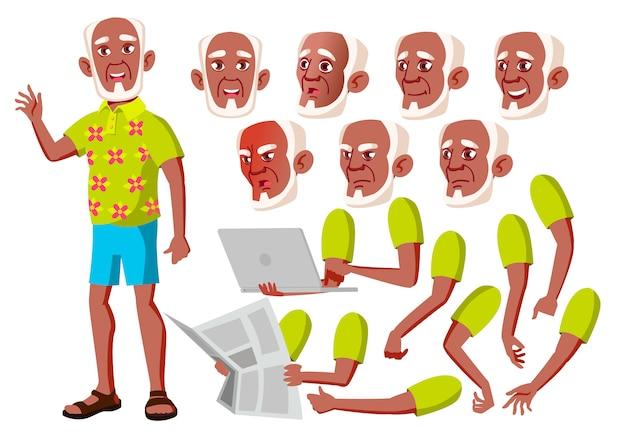 Alter mann charakter. afrikanisch. erstellungskonstruktor für animation. gesichtsemotionen, hände.