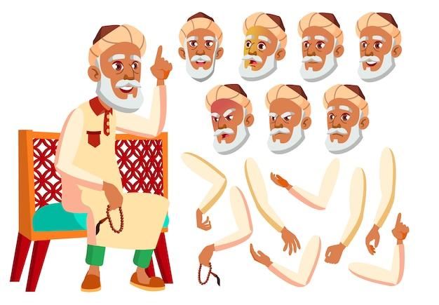 Alter mann charakter. araber. erstellungskonstruktor für animation. gesichtsemotionen, hände.