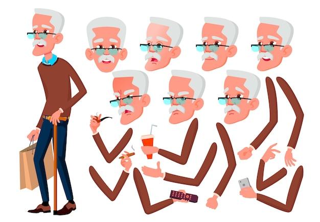 Alter mann charakter. europäisch. erstellungskonstruktor für animation. gesichtsemotionen, hände.