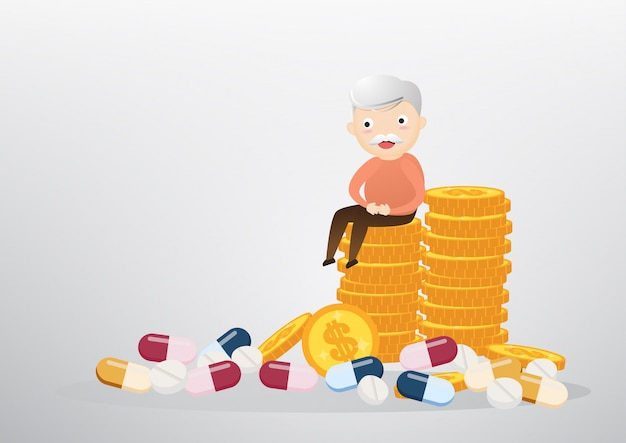 Alter mann, der auf münzen-, geschäfts- und gesundheitswesenkonzept sitzt. vektor, abbildung