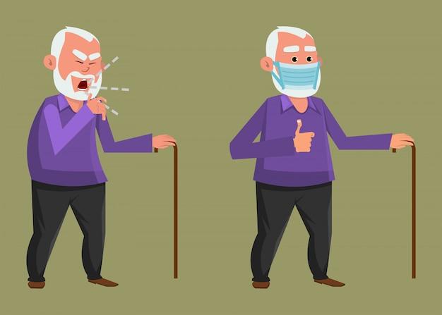 Alter mann, der hustend und schützende gesichtsmaske trägt