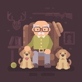 Alter mann, der im lehnsessel mit seinen zwei hunden stillsteht. großvater flache abbildung