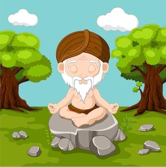 Alter mann der meditation, der in lotussitz sitzt