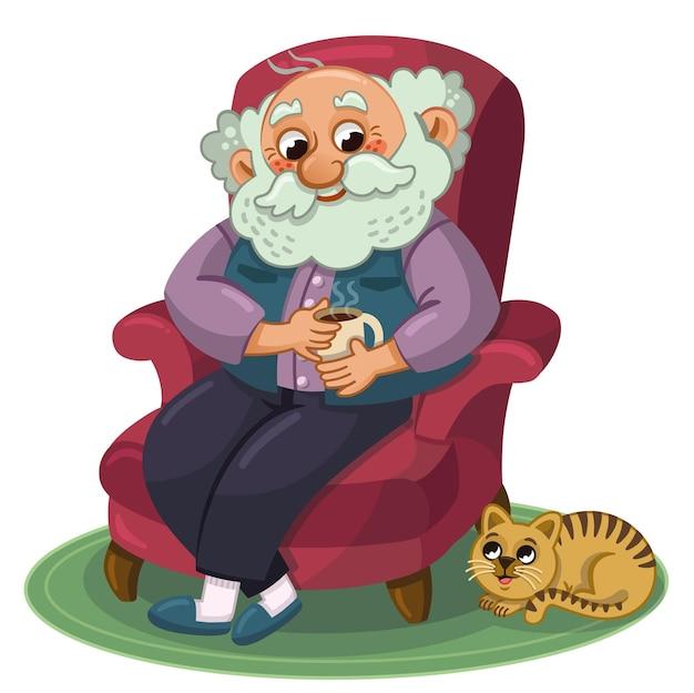 Alter mann, der sich zu hause mit seiner katze ausruht vektorillustration